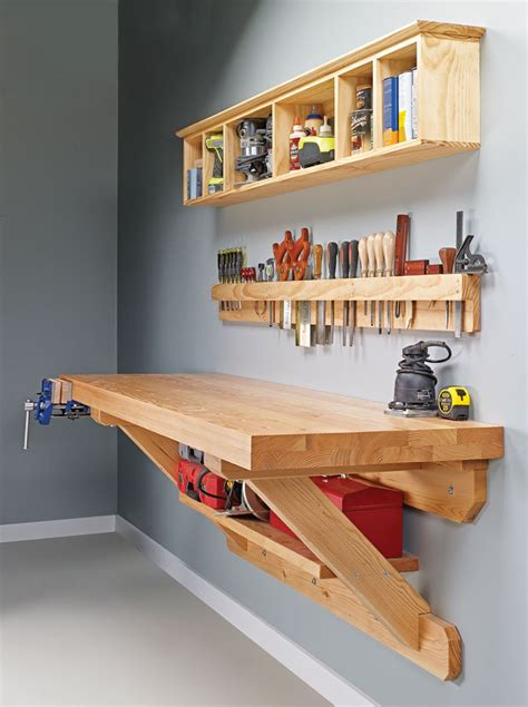 wall mounted workbench woodworking project woodsmith plans