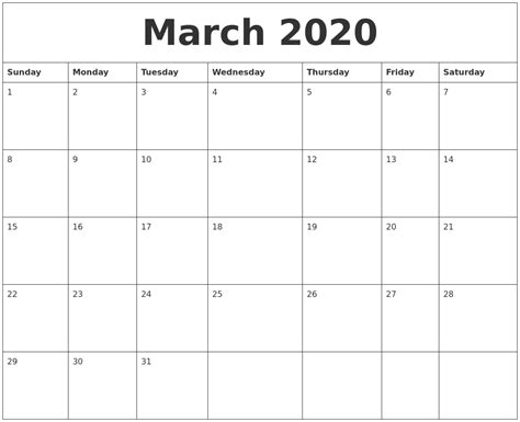 march  editable calendar template