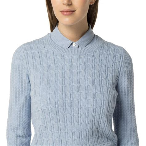 womens hilfiger clothing classic wool cable knit sweater chambray blue teknoapsis