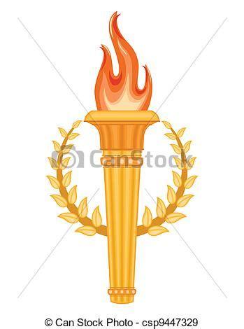 Grec, olympique, torche. Doré, olympique, sur, torche ...