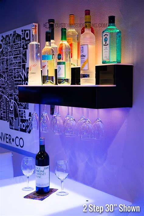 Bar Wall Shelves by 2 Step Led Lighted Liquor Displays New House