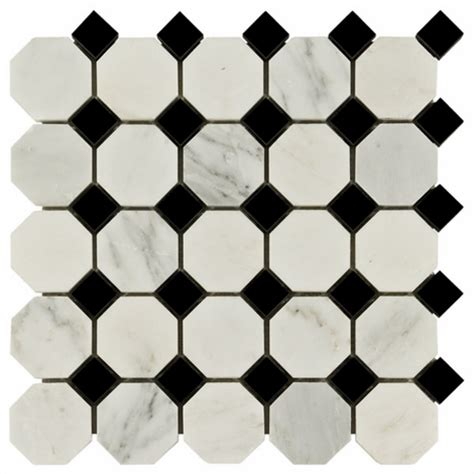 carrara white and black octagon marble mosaic floor decor