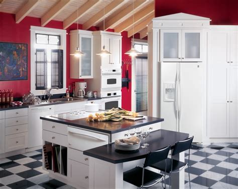 Ge Profile Kitchen With Red Walls White Cabinets And