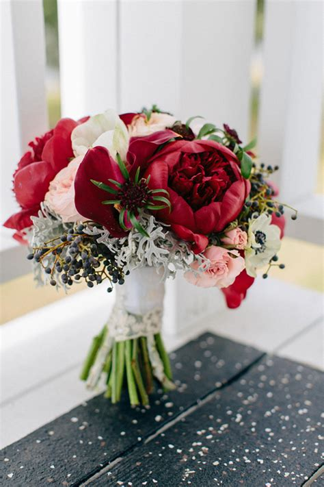 Winter Wedding Bouquet Of Deep Red Peonies And White