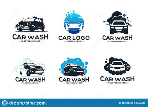 car wash service logo vector set design cartoon vector
