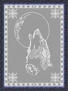 Filet Crochet Chart-Wolf by Viktoria-Lyn - Craftsy