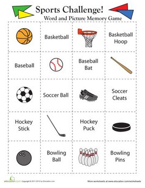 10 best images about pe worksheets on sports