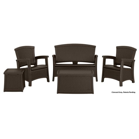 shop suncast 5 piece resin patio conversation set at lowes com