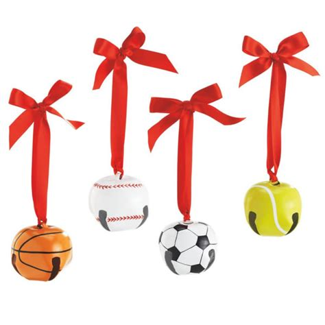 sports ball bell christmas ornament set of 4