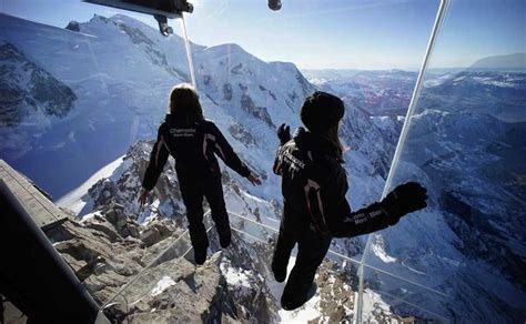 glass lookout  french alps step   void skywalk