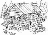 Cabin Coloring Log Drawing Burning Wood Printable Woods Adult Patterns Stampin Stencils Stamps Scenes Lake Drawings Cottage Rubber Colouring Template sketch template