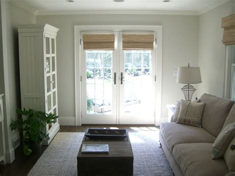 White Bamboo Chair by Window Treatments French Doors Living Room Beach With