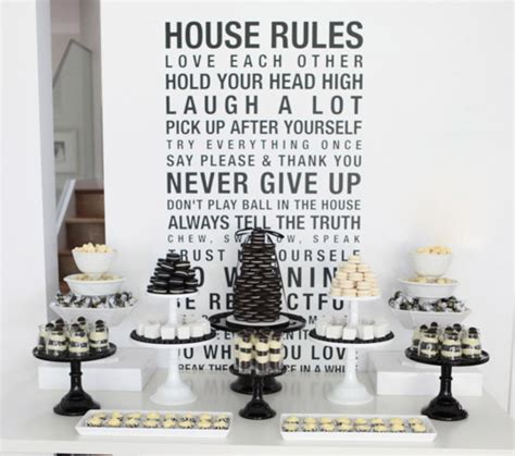bn black book  parties black  white dessert table