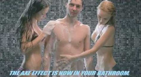 Men Showering Blog axe effect powerful media persuades the eye