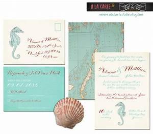 seahorse nautical or beach destination wedding invitation With nautical map wedding invitations