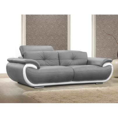 canapé 3 places en cuir smiley bicolore gris achat