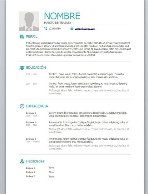 Cv Word by Modelos De Curriculum Vitae En Word Para Completar