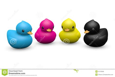 cmyk color rubber duck symbolic toy royalty  stock