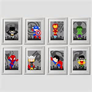 superhero wall art prints set of 8 super hero wall art