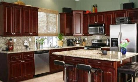 color theme idea for kitchen cherry wood cabinets