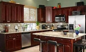 color theme idea for kitchen dark cherry wood cabinets With what kind of paint to use on kitchen cabinets for black red and white wall art