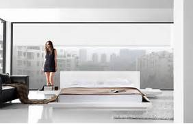 Platform Bed Decoration Home Opal White Gloss Japanese Style Platform Bed With Nightstands