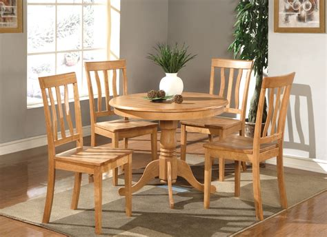 pc dinette kitchen dining set table   plain wood seat chairs light oak ebay