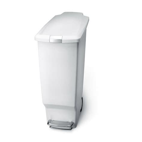 simplehuman 40l plastic slim step waste bin white at wilko com