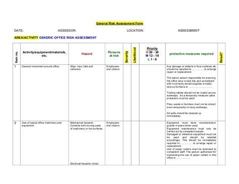 generic office risk assessment
