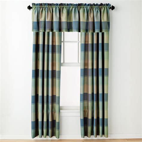 green plaid curtains