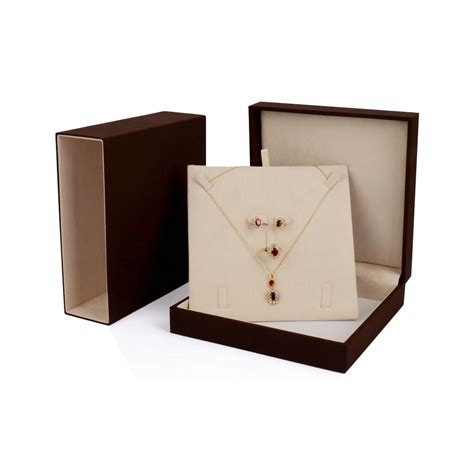 clutch cosmetic brown jewelry packaging box with inlay luxury