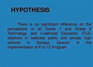 Technology and livelihood education thesis proposal