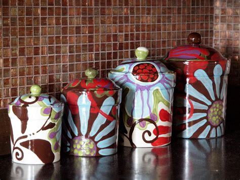 pottery kitchen canister sets canister set of four fusion colorful pottery by