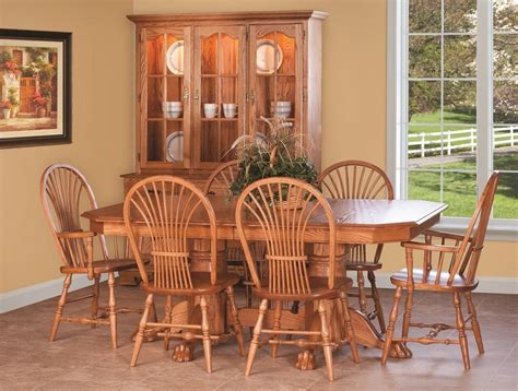solid oak dining room table sets chairs ebay amish country pedestal dining set table chair cottage wood