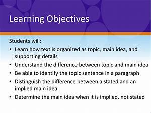 Difference Between Topic And Main Idea Ppt Finding Topic And Main Idea Powerpoint Presentation