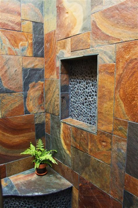 Indoor/Outdoor Showers Tropical Bathroom hawaii by Natural Structures