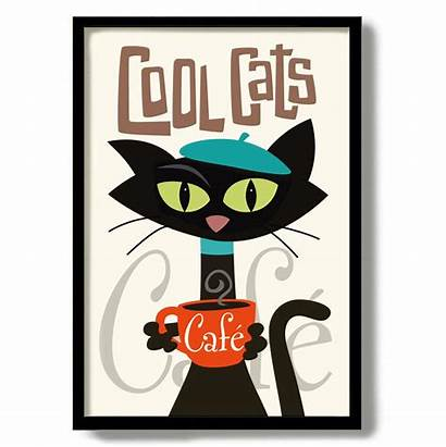 Cat Cafe French Coffee Sign Poster Posters