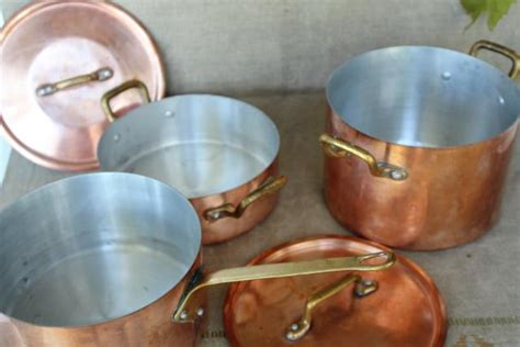 vintage french copper cookware stockpot sauce pan  lid brass handles