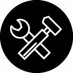 Circle Icon Wrench Hammer Symbol Outline Tools