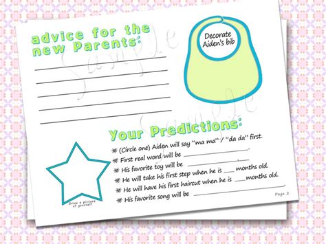 Custom. Baby Shower Guest Book. Double Sided Activities
