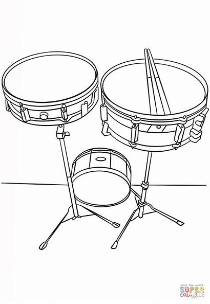 Coloring Drums Snare Pages Printable Drawing Musical
