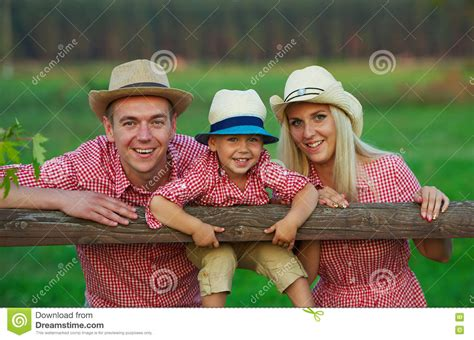Happy Family In Country Style Royaltyfree Stock