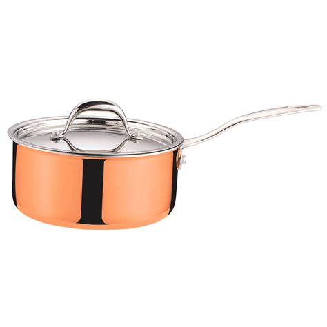 copper skillets reviews kitchen tri ply clad copper sauce pan with covered lid