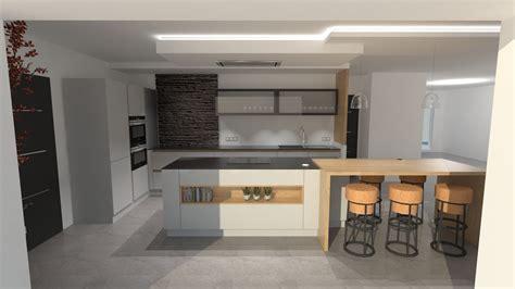 cuisine gris et bois cuisine design gris clair et bois avec grand îlot et