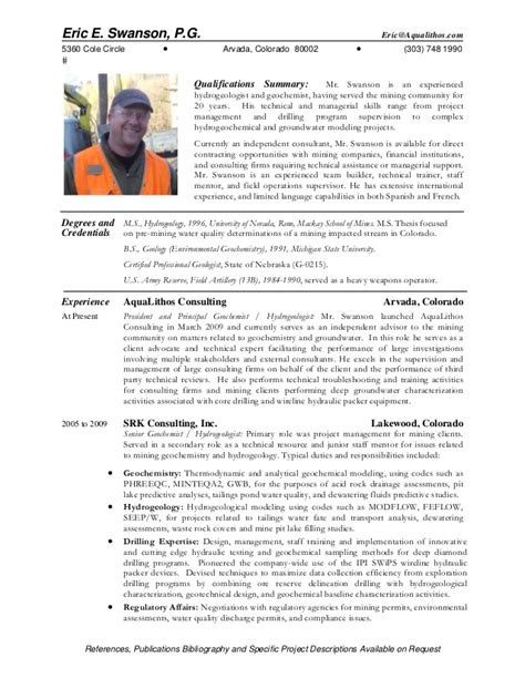 Geologist Resume Sle by Geologist Resume Entry Level Geologist Resume Sle