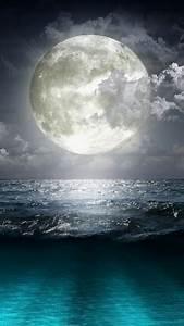 Super Moon Blue Ocean Android Wallpaper free download