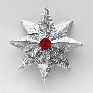 weihnachtsbaumschmuck aus papier stern silber papier knopf With französischer balkon mit origami sonnenschirm faltanleitung