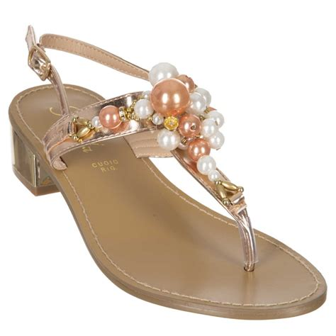 flip flops mit perlen flip flop sandalen mit frontalen perlen und rosegold