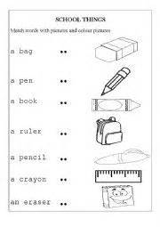 english worksheet school things imprimibles 1st grade