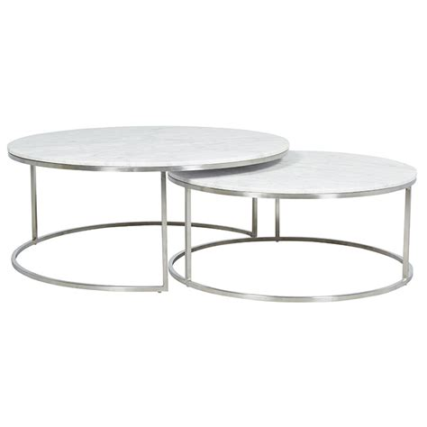 Free delivery & warranty available. Elle Round Marble Nest Coffee Tables - Matt White & Stainless Steel - Make Your House a Home ...